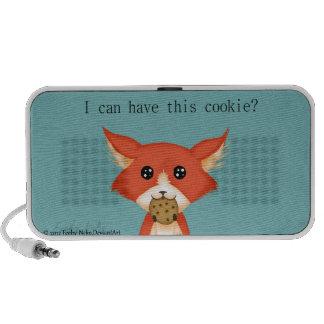 Cute Big Eyed Fox Eating A Cookie iPod Speaker