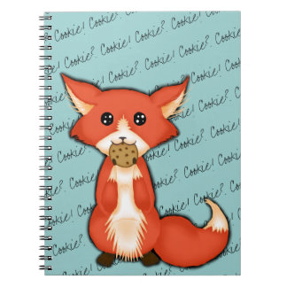 Cute Big Eyed Fox Eating A Cookie Spiral Notebook
