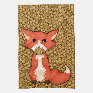 Cute Big Eyed Fox Eating A Cookie Tea Towel