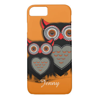 Cute Big Eyed Mother Baby Owls Personalized iPhone 8/7 Case