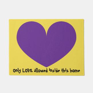 Cute Big Purple Heart Design Doormat
