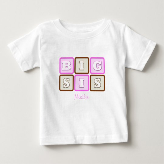 Cute Big Sis Word Block with Name Baby T-Shirt