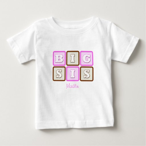 Cute Big Sis Word Block with Name Shirt