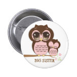 Cute Big Sister Owl with Sleepy Lil' Baby Sis Pinback Buttons