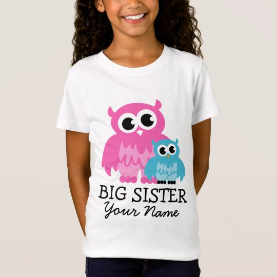 Cute big sister t shirt with whimsical owl cartoon