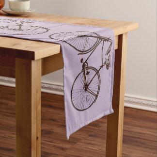 Cute bike bicycle table runner purple mauve