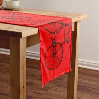 Cute bike bicycle table runner red