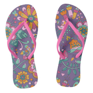 Cute Bird and Floral Purple Pattern Flip Flops