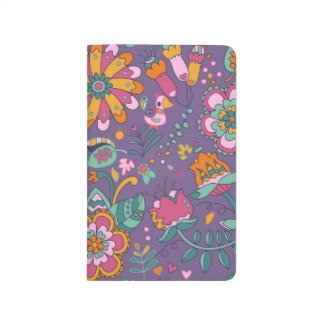 Cute Bird and Floral Purple Pattern Journal
