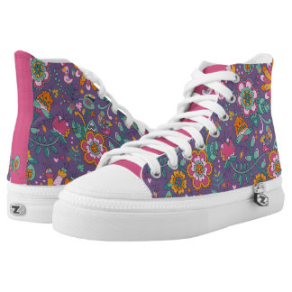 Cute Bird and Floral Purple Pattern Shoes Printed Shoes