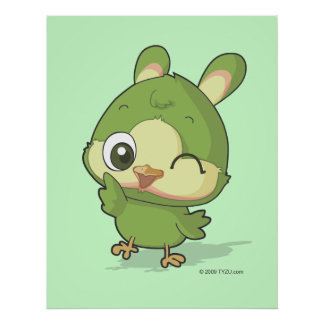 Cute bird anime funny cartoon character poster