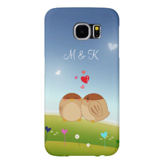 Cute Bird Couple Full of Love Heart Monogram Name Samsung Galaxy S6 Cases