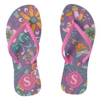 Cute Bird & Floral Pattern Flip Flops - Monogram