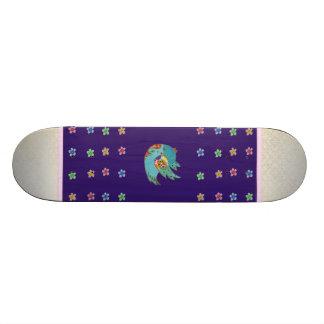 Cute bird flying and singing custom skateboard