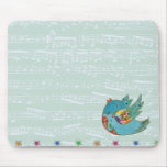 Cute bird flying and singing mouse mat