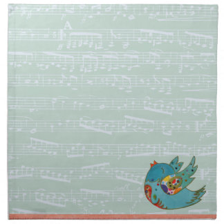 Cute bird flying and singing printed napkins