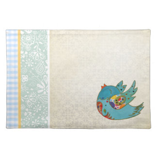 Cute bird flying and singing placemat