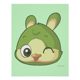 Cute bird funny anime cartoon character poster