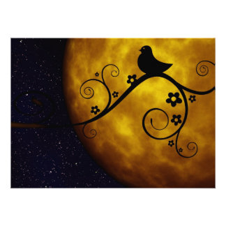 Cute Bird in the Moonlight Personalized Invitation