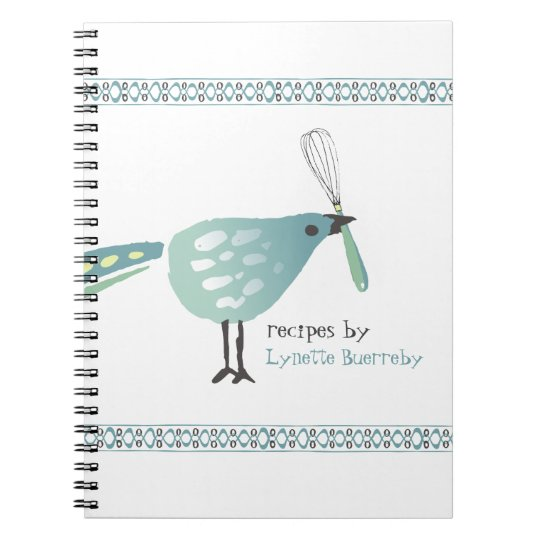 Cute bird kitchen whisk recipe notebook cookbook
