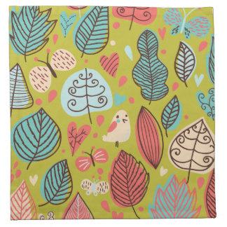 Cute Bird/Leaf Pattern Napkins