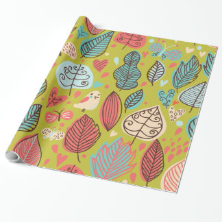 Cute bird/Leaf Pattern Wrapping Paper