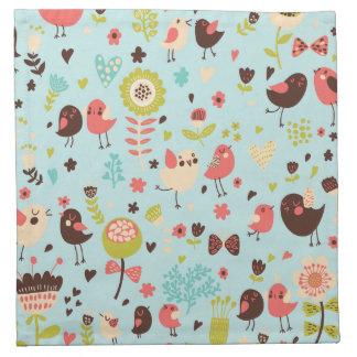 Cute Bird Pattern Four Printed Napkins