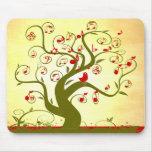 Cute Bird Swirl Tree MousePad