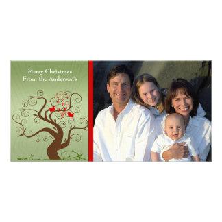 Cute Bird Swirl Tree Wood Grain Family Photo Card