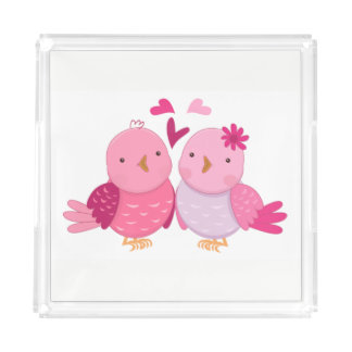 Cute Birds Acrylic Tray