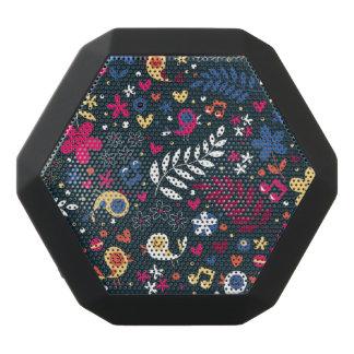 cute birds and flowers pattern black bluetooth speaker