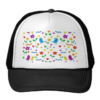 Cute birds and flowers pattern cap
