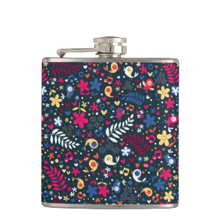 cute birds and flowers pattern hip flask