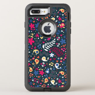 cute birds and flowers pattern OtterBox defender iPhone 8 plus/7 plus case