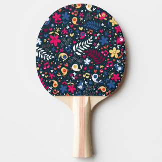 cute birds and flowers pattern ping pong paddle