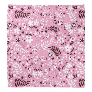 cute birds and flowers pink pattern bandana