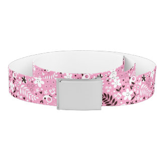 cute birds and flowers pink pattern belt