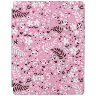 cute birds and flowers pink pattern iPad cover