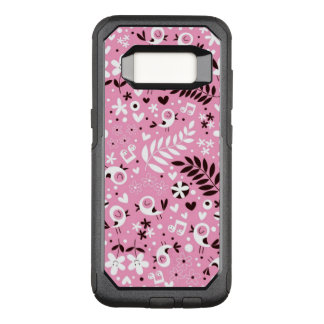cute birds and flowers pink pattern OtterBox commuter samsung galaxy s8 case