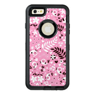 cute birds and flowers pink pattern OtterBox defender iPhone case