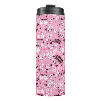 cute birds and flowers pink pattern thermal tumbler