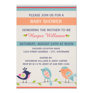 Cute Birds - Baby Shower Invitation