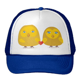 Cute birds couple in love cap