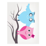 Cute birds couple in love post card