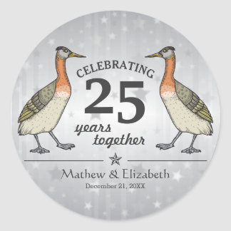 Cute Birds Custom Silver 25th Wedding Anniversary Classic Round Sticker