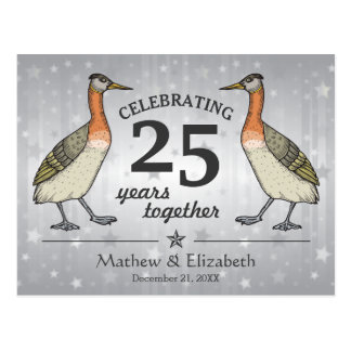 Cute Birds Custom Silver 25th Wedding Anniversary Postcard