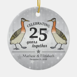 Cute Birds Custom Silver 25th Wedding Anniversary Round Ceramic Decoration