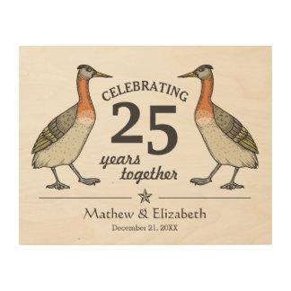 Cute Birds Custom Silver 25th Wedding Anniversary Wood Canvases