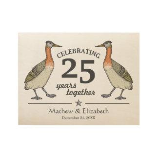 Cute Birds Custom Silver 25th Wedding Anniversary Wood Poster
