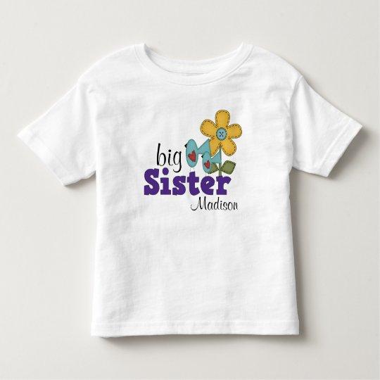 Cute Birds Daisy Flower Big Sister Toddler T-Shirt